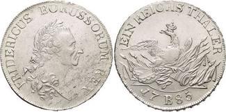 Taler 1785  B Brandenburg-Preussen Friedrich II. 1740-1786, Münzstätte Breslau. Min.Sf., Kl.Verprägung i.Rd., vorzüglich +