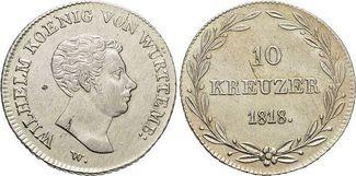 10 Kreuzer 1818 Württemberg Wilhelm I. 1816-1864. Kl.Sf., fast vorzüglich