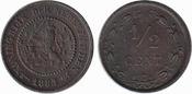 ½ Cent 1883 Netherlands Willem III 1849-1890 Unc