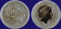 New Zealand 1 Dollar Kiwi 2012 1 oz Silver Bu in Capsule