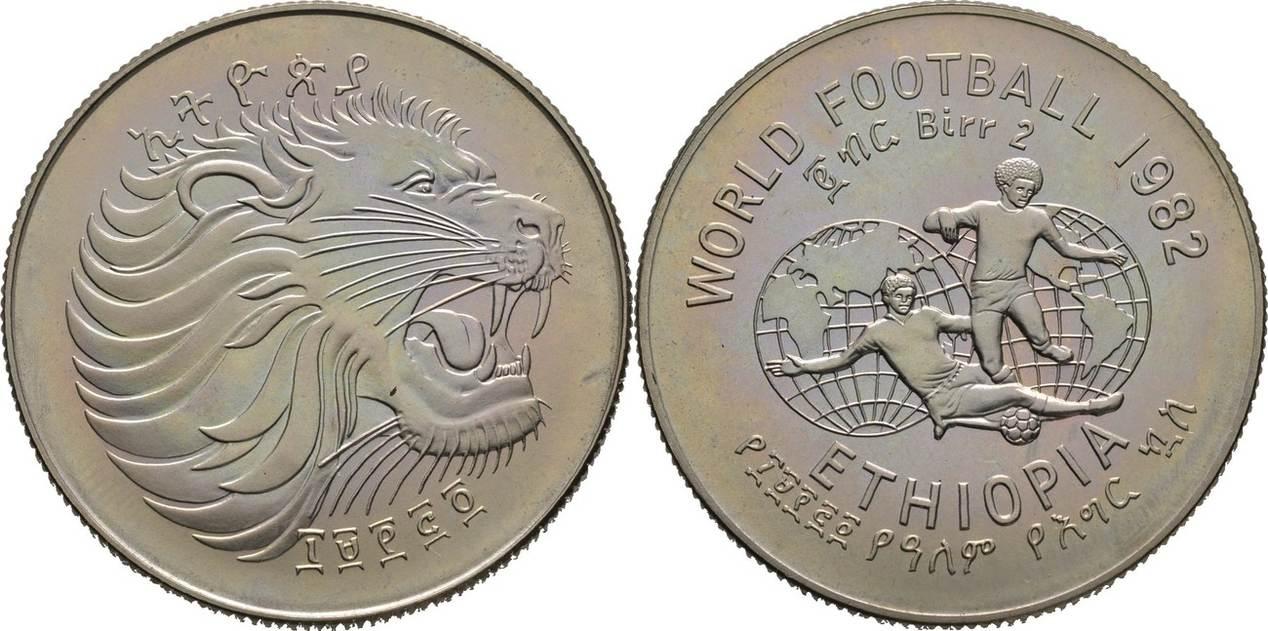 2 Birr 1982 äthiopien Fussball Wm 1982 In Spanien Prägefrisch Ma Shops