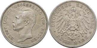 5 Mark 1895 Hessen Ernst Ludwig, 1892-1918 Kratzer, Randfehler, ss-