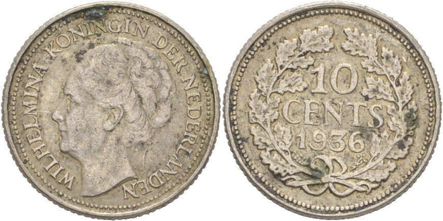 10 Cents 1936 Niederlande Wilhelmina Ss Ma Shops