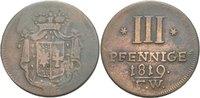 Waldeck Pyrmont 3 Pfennige Georg Heinrich, 1813 - 1845.