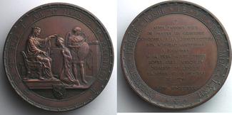 7 décembre  Jetons und Medaillen FABISCH/PENIN   Médaille en cuivre   69mm   Pose de la première pierre le 7 déce vz