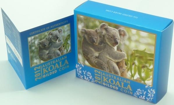 1 AUD 2012 Australien Australien 1 Dollar 2012 Koala Silber 31,10g (1oz) PP gilded original teilvergoldet PP (Proof)