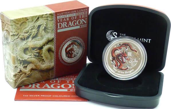 1 AUD 2012 Australien Australien 1$ 2012 PP Silber 31,10g (1oz) fein Roter Drache PP original