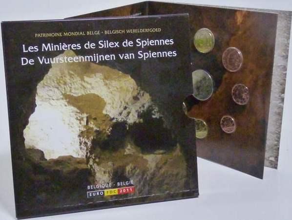 3,88 Euro 2010 Belgien Belgien Kursmünzensatz 2011 stempelglanz Feuersteinmine Spiennes stempelglanz