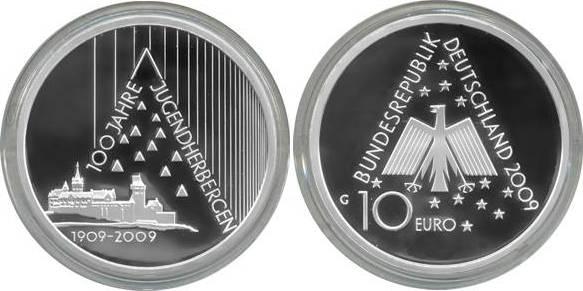 10,00 Euro 2009 Deutschland BRD 10 Euro Silber 2009 G PP (Spiegelglanz) 100 Jahre Jugendherbergen PP (Spiegelglanz)