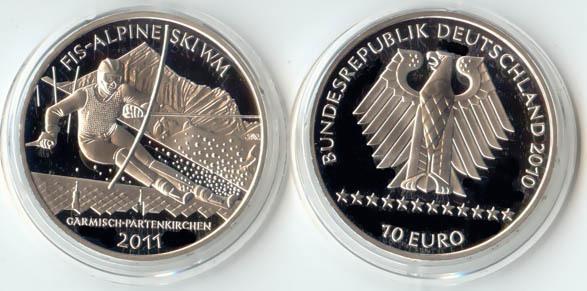 10,00 Euro 2010 Deutschland BRD 10 Euro Silber 2010 F PP (Spiegelglanz) FIS Alpine Ski WM 2011 PP (Spiegelglanz)