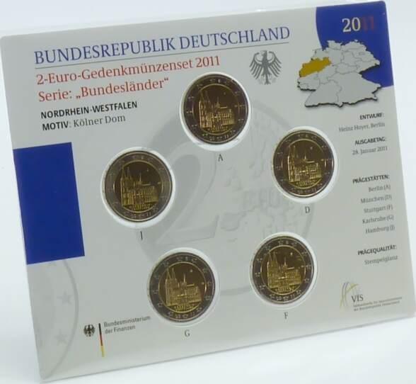 10,00 Euro 2011 Deutschland BRD 2 Euro 2011 vz-st Satz ADFGJ offizieller Blister Kölner Dom vorzüglich-stempelglanz