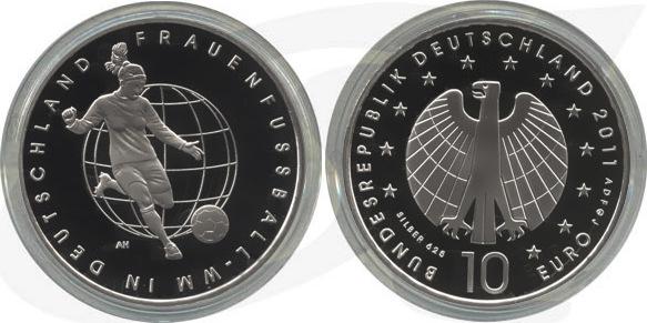 10,00 Euro 2011 Deutschland BRD 10 Euro Silber 2011 D PP (Spiegelglanz) Frauenfußball-WM in Deutschland PP (Spiegelglanz)