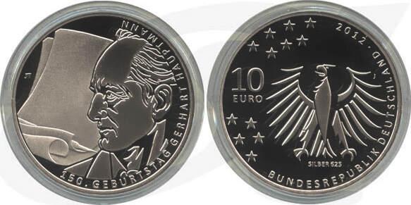 10,00 Euro 2012 Deutschland BRD 10 Euro Silber 2012 J PP (Spiegelglanz) 150. Geb. Gerhart Hauptmann PP (Spiegelglanz)