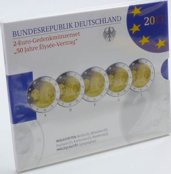 10,00 Euro 2013 Deutschland BRD 2 Euro 2013 ADFGJ PP offizieller Blister 50 Jahre Elyseé-Vertrag PP