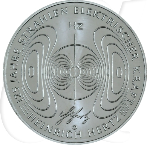 10,00 Euro 2013 Deutschland BRD 10 Euro CuNi 2013 G st/prägefrisch 125 J. Strahlen elek. Kraft Heinr. Hertz st / prägefrisch