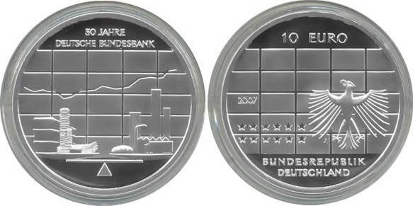 10,00 Euro 2007 Deutschland BRD 10 Euro Silber 2007 J PP (Spiegelglanz) 50 Jahre Deutsche Bundesbank PP (Spiegelglanz)