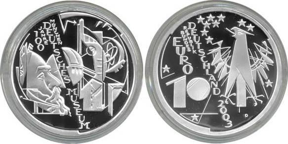 10,00 Euro 2003 Deutschland BRD 10 Euro Silber 2003 D PP (Spiegelglanz) 100 J. Deutsches Museum München PP (Spiegelglanz)