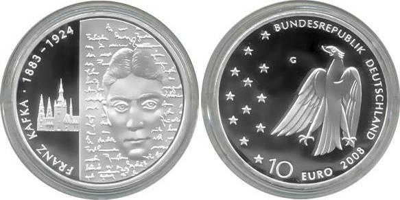 10,00 Euro 2008 Deutschland BRD 10 Euro Silber 2008 G PP (Spiegelglanz) 125. Geburtstag Franz Kafka PP (Spiegelglanz)