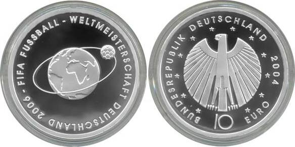 10,00 Euro 2004 Deutschland BRD 10 Euro Silber 2004 A PP (Spiegelglanz) Fußball-WM Ausgabe II PP (Spiegelglanz)