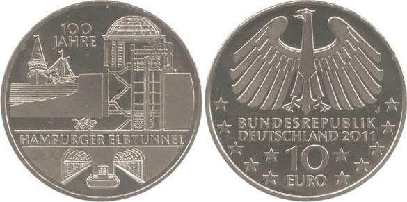 10,00 Euro 2011 Deutschland BRD 10 Euro CuNi 2011 J st/prägefrisch 100 Jahre Hamburger Elbtunnel st / prägefrisch