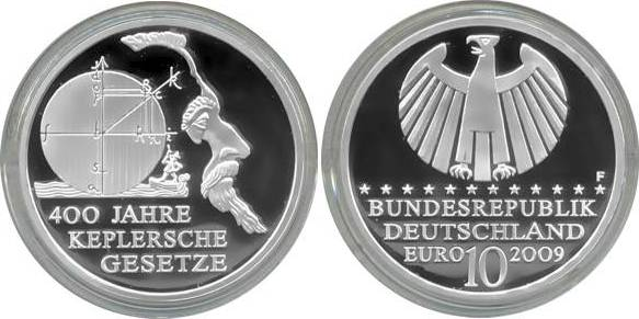 10,00 Euro 2009 Deutschland BRD 10 Euro Silber 2009 F PP (Spiegelglanz) 400 Jahre Keplersche Gesetze PP (Spiegelglanz)