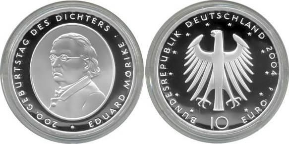10,00 Euro 2004 Deutschland BRD 10 Euro Silber 2004 F PP (Spiegelglanz) 200. Geb. Eduard von Mörike PP (Spiegelglanz)