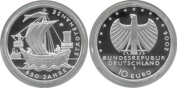 10,00 Euro 2006 Deutschland BRD 10 Euro Silber 2006 J PP (Spiegelglanz) 650 Jahre Städtehanse PP (Spiegelglanz)