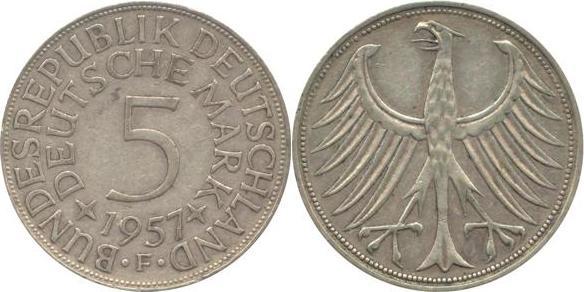 5 Deutsche Mark 1957 Bundesrepublik Deutschland (BRD) BRD 5 DM J387 Kursmünze Silber 1957 F circ. sehr schön