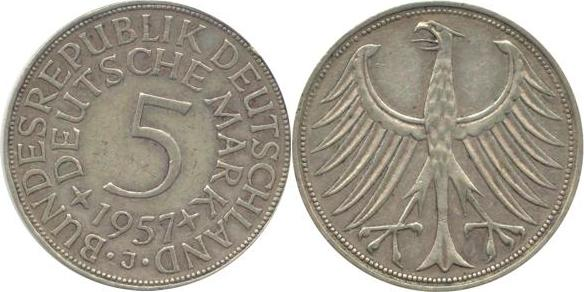 5 Deutsche Mark 1957 Bundesrepublik Deutschland (BRD) BRD 5 DM J387 Kursmünze Silber 1957 J circ. sehr schön