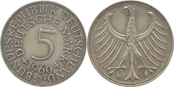 5 Deutsche Mark 1960 Bundesrepublik Deutschland (BRD) BRD 5 DM J387 Kursmünze Silber 1960 J circ. sehr schön