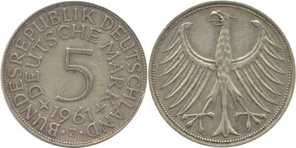 5 Deutsche Mark 1961 Bundesrepublik Deutschland (BRD) BRD 5 DM J387 Kursmünze Silber 1961 J circ. sehr schön