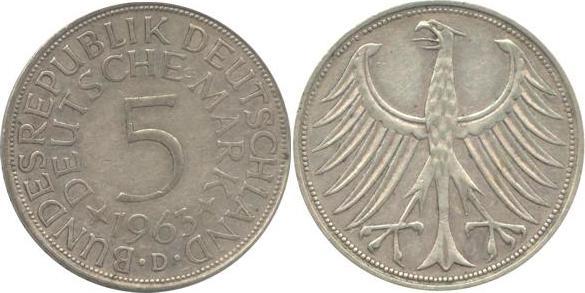5 Deutsche Mark 1963 Bundesrepublik Deutschland (BRD) BRD 5 DM J387 Kursmünze Silber 1963 D circ. sehr schön