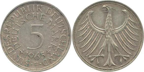 5 Deutsche Mark 1965 Bundesrepublik Deutschland (BRD) BRD 5 DM J387 Kursmünze Silber 1965 F circ. sehr schön