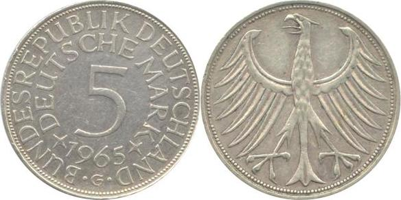 5 Deutsche Mark 1965 Bundesrepublik Deutschland (BRD) BRD 5 DM J387 Kursmünze Silber 1965 G circ. sehr schön