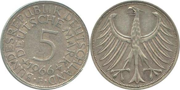 5 Deutsche Mark 1966 Bundesrepublik Deutschland (BRD) BRD 5 DM J387 Kursmünze Silber 1966 F circ. sehr schön