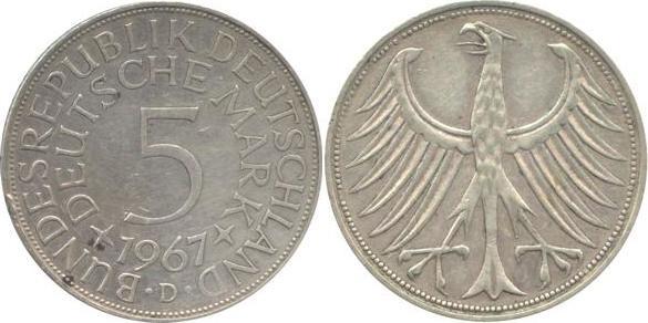 5 Deutsche Mark 1967 Bundesrepublik Deutschland (BRD) BRD 5 DM J387 Kursmünze Silber 1967 D circ. sehr schön