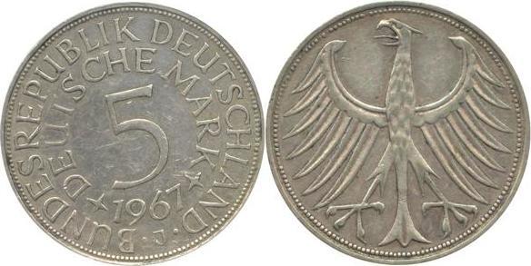 5 Deutsche Mark 1967 Bundesrepublik Deutschland (BRD) BRD 5 DM J387 Kursmünze Silber 1967 J circ. sehr schön