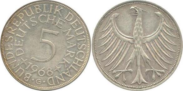 5 Deutsche Mark 1968 Bundesrepublik Deutschland (BRD) BRD 5 DM J387 Kursmünze Silber 1968 G circ. sehr schön