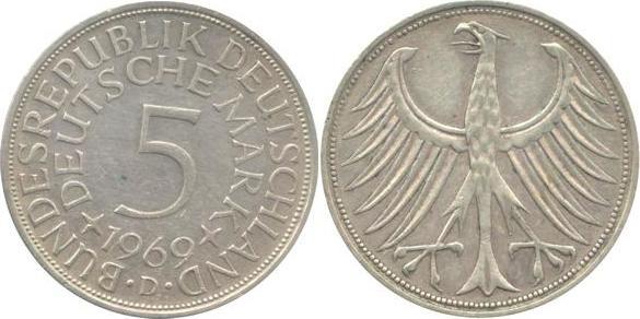 5 Deutsche Mark 1969 Bundesrepublik Deutschland (BRD) BRD 5 DM J387 Kursmünze Silber 1969 D circ. sehr schön