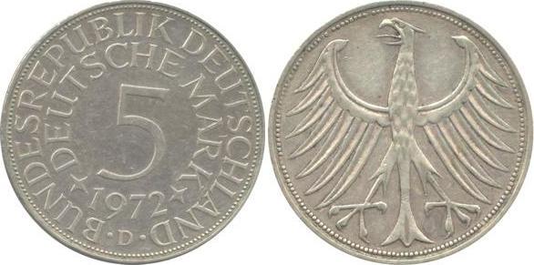 5 Deutsche Mark 1972 Bundesrepublik Deutschland (BRD) BRD 5 DM J387 Kursmünze Silber 1972 D circ. sehr schön