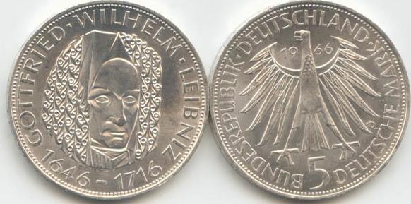 5 Deutsche Mark 1966 Bundesrepublik Deutschland (BRD) BRD 5 DM Gedenkmünze Silber Leibniz 1966 D vz vorzüglich