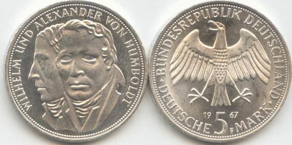 5 Deutsche Mark 1967 Bundesrepublik Deutschland (BRD) BRD 5 DM Gedenkmünze Silber Humboldt 1967 F vz vorzüglich