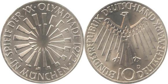 10 Deutsche Mark 1972 Bundesrepublik Deutschland (BRD) BRD 10 DM Gedenkmünze Silber Olympia Spirale München 1972 D vz-st vz-st