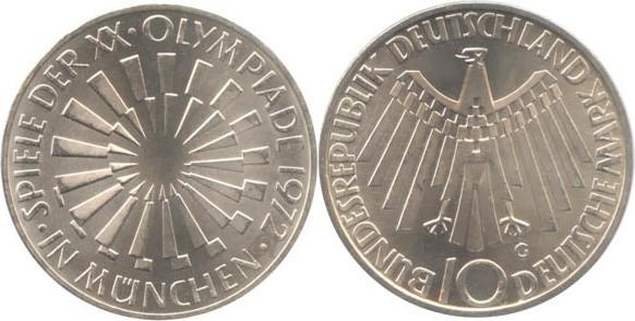10 Deutsche Mark 1972 Bundesrepublik Deutschland (BRD) BRD 10 DM Gedenkmünze Silber Olympia Spirale München 1972 G vz-st vz-st