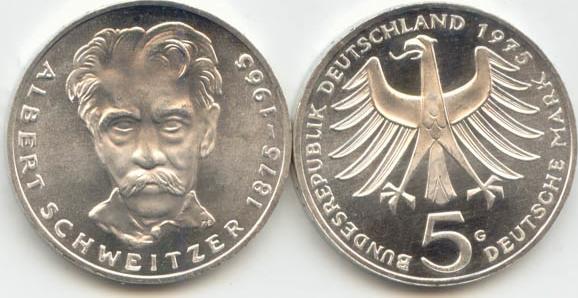 5 Deutsche Mark 1975 Bundesrepublik Deutschland (BRD) BRD 5 DM Gedenkmünze Silber Albert Schweitzer 1975 G st/prägefrisch st / prägefrisch