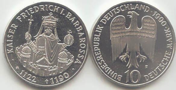 10 Deutsche Mark 1990 Bundesrepublik Deutschland (BRD) BRD 10 DM Gedenkmünze Silber Kaiser Barbarossa 1990 F st/prägefrisch st / prägefrisch