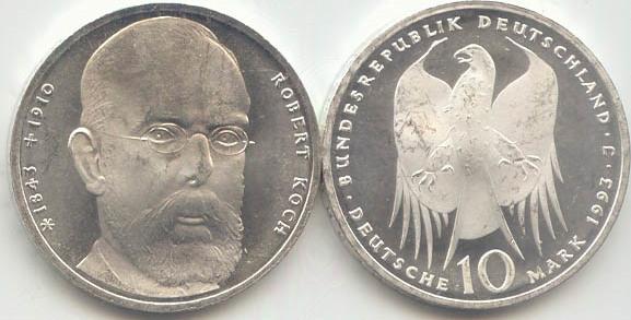 10 Deutsche Mark 1993 Bundesrepublik Deutschland (BRD) BRD 10 DM Gedenkmünze Silber Robert Koch 1993 J st/prägefrisch st / prägefrisch