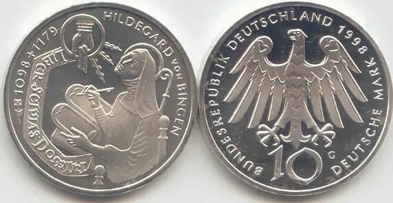 10 Deutsche Mark 1998 Bundesrepublik Deutschland (BRD) BRD 10 DM Gedenkmünze Silber Hildegard von Bingen 1998 G st/prägefrisch st / prägefrisch