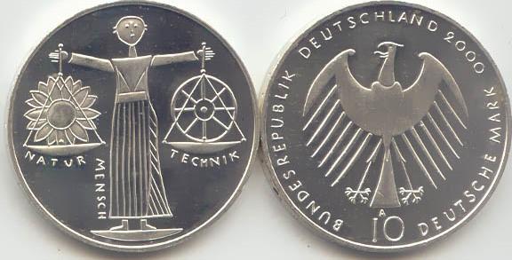 10 Deutsche Mark 2000 Bundesrepublik Deutschland (BRD) BRD 10 DM Gedenkmünze Silber EXPO Hannover 2000 A st/prägefrisch st / prägefrisch