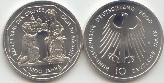 10 Deutsche Mark 2000 Bundesrepublik Deutschland (BRD) BRD 10 DM Gedenkmünze Silber Aachener Dom 2000 G st/prägefrisch st / prägefrisch